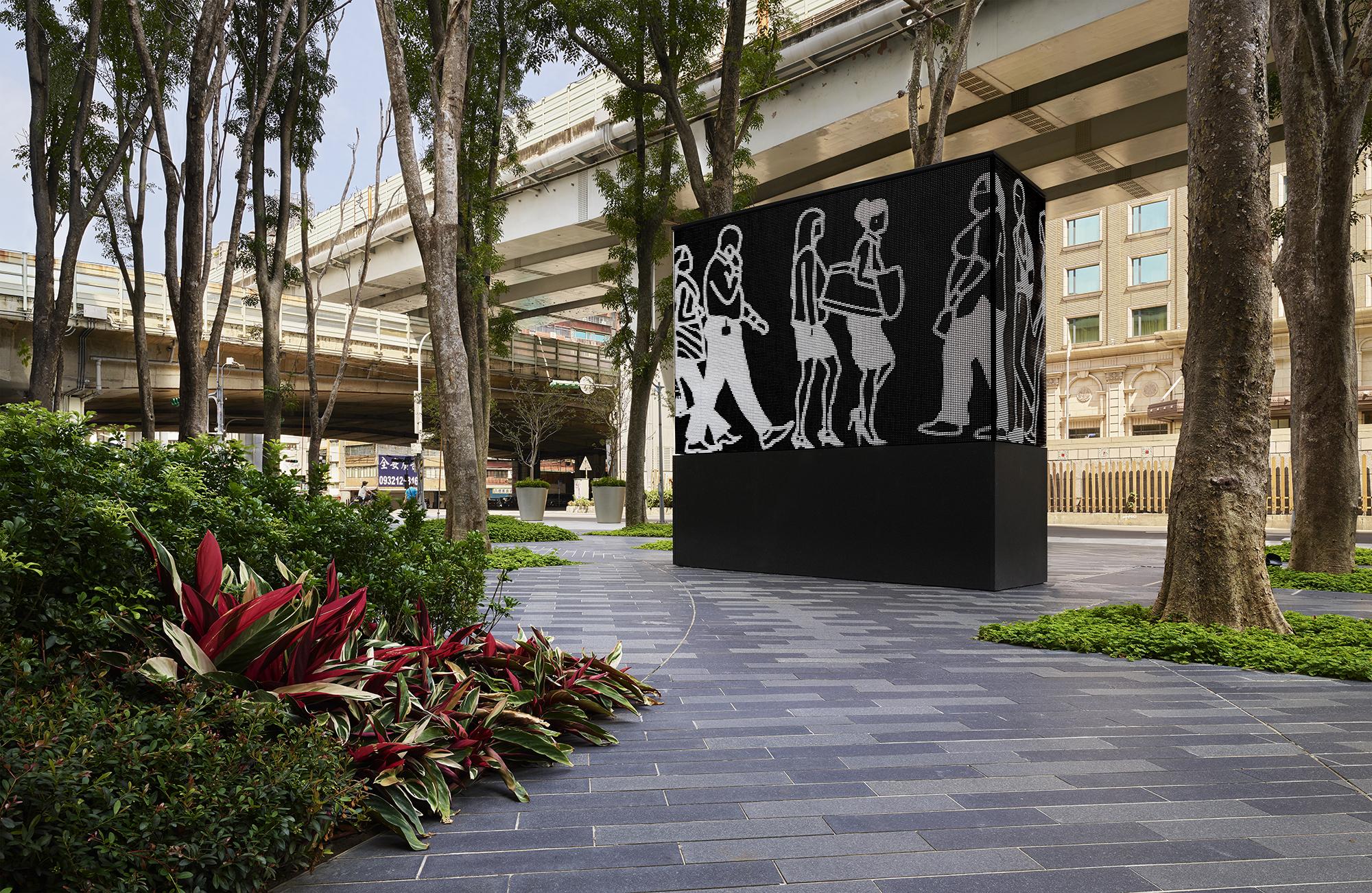 Public art of Jut Art Museum - Walking in Taipei by Julian Opie. © Jut Art Museum